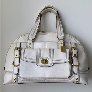 COACH Large white leather bag